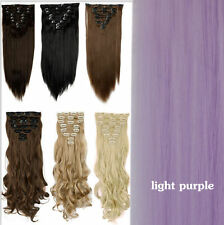 100% Real Natural as human Hair 8Pcs Full Head Clip In Hair Extensions Blonde