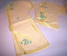 Large Baby Fleece layette doll or infant clothes vintage 1950's embroidered