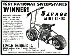 "Vintage and Rare 1961 Berkeley ""Savage"" Mini-Bike Ad"