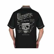 Lucky 13 Mr Continental Skull Gentlemans Parlor Bowling Button Down S/S Shirt M