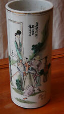 """ANTIQUE 19C CHINESE PORCELAIN PAINTED VASE WIG STAND""""SEVERAL FIGURES ON JOURNEY"""""""