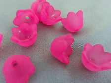 7x10mm 50pcs FROSTED VIOLET RED ACRYLIC PLASTIC FLOWER BEADS TY06320