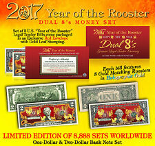 2017 YEAR OF THE ROOSTER Lucky Money U.S. $1 & $2 Set - DUAL 8's GOLD ROOSTERS