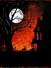 1.5x2 DOLLHOUSE MINIATURE PRINT OF PAINTING RYTA 1:12 SCALE HALLOWEEN HAUNTED