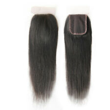 Free Part Hand Tied Lace Closure Brazilian Virgin Human Hair Extensions Straight