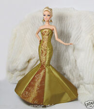 OOAK Handmade Thai Green Silk Outfit Everning Gown Dress For Barbie Muse Doll FR