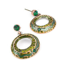 Circle Tribal Ethnic Earrings Aztec Dangle Costume Jewel Crystals Emerald Enamel