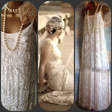 asos deluxe cream silver 20s bead deco gatsby flapper wedding tassel dress 12 40