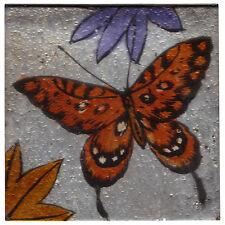 Set of 4 Square Glass Drinks Coasters - Orange Butterfly Design