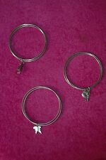 Set of 3 triple bracelet bangles with charms - silver coloured metal