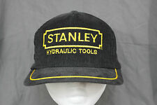 Vtg 80's STANLEY Hydraulic Tools Embroidered Corduroy Snapback Trucker Hat Cap