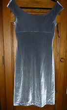 GUESS Jeans dress SILVER VELOUR stretch M wiggle bodycon SEXY fitted