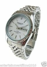 Swanson Japan Men's Day-Date Silver White Dial Watch