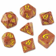 Q-workshop 7 Dice Set of Caramel & Yellow Classic SCLE77