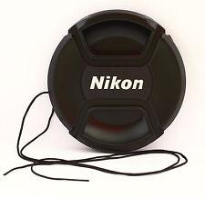 Tapa delantera 77mm con cordón y pinza central para objetivo Nikon