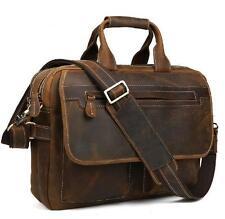 New Men's Tote Cowhide Leather Shoulder bag messenger Briefcase 15'' Laptop Bag