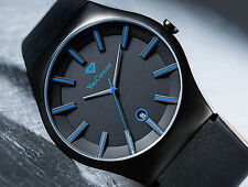 YVES CAMANI LOANN MENS WATCH BLACK S-STEEL LEATHER BLUE INDICES NEW RRP £225