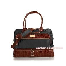 Samantha Brown Croco-Embossed Trim Drop Bottom Weekender Bag Black New