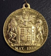 Medal 1939 Visit Royal Georges Vi to Canada 1 1/2 Inch plated gold color