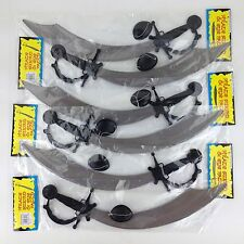6 Pirate Swords & Eye Patches Plastic Party Favor Pretend Toy Play Knife Prop
