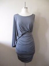 NEW Gray Urban Modern Asymmetric Draped Ruched One Shoulder Stretch Dress