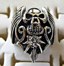 GOTHIC ~ S/STEEL ~ SIZE:9 ~ SCULL ~  RING -- (GREAT_GIFT)