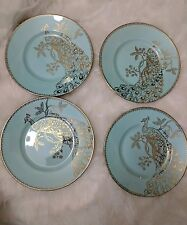 222 FIFTH PEACOCK GARDEN - ROUND TURQUOISE SIDE SALAD PLATES - SET OF 4 -