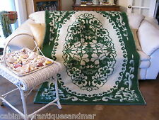 Vintage Art Deco Mission Green & Creme Floral Reversible Wool Blanket 55x80