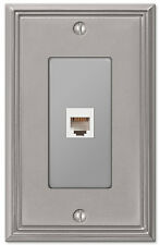 PHONE JACK with HARDWARE WALLPLATE SWITCHPLATE METRO LINE BRUSHED NICKEL FINISH