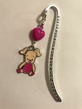 CUTE PIGLET DISNEY BOOKMARK TIBETAN SILVER with enamel charm present In gift Bag