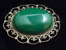 Vintage Mexican Silver and Jadite Pin/Pendant STERLING ST102