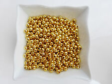 500 x 3mm Smooth Round Spacer Beads Gold Findings Metal Iron           (MBX0071)
