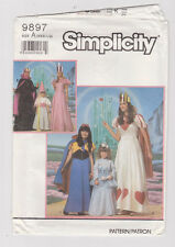 Simplicity 9897 Girls' & Misses Princess Halloween Costume Pattern New, Uncut