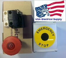 Red Sign LED Emergency Stop Push Button Switch Housing 1NO 1NC 110/250VAC 10A