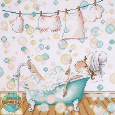 Cross Stitch Kit ~ Design Works Lovely Lady Blowing Bubbles in Bath Tub #DW2802