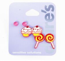E449 Claire's Carousel Childhood Memory Lollipop Cupcake Earrings 3 Pair Set UK