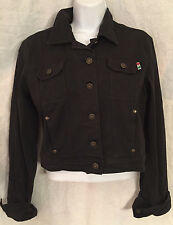 MOSCHINO Womens Black Cropped Jean Jacket Size 10 Made in Italy