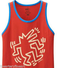 KEITH HARING x UNIQLO 'Dancing Dog Man' SPRZ NY Ringer Art Tank Top L Red *NWT*