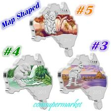 Australia Map Shaped Series 2014 Koala 2013 Platypus & Kangaroo 1oz Silver Coins