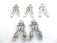 10 x Tibetan Silver Ballet Shoe Charms Lead & PB Free