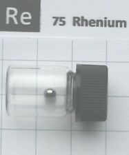 0.44 gram Solid Rhenium metal Pellet 99.99% in glass vial - Element 75 sample