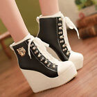 Stylish Fashion Womens High Heel Platform Round Toe Lace Up Ankle Boots Shoes