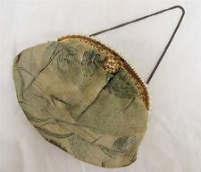 VINTAGE 1930's CREAM BROCADE, FAUX PEARL & GILT METAL FRAMED EVENING PURSE