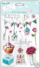 Clear papermania stamps Lucy Cromwell BUNTING cupcakes bird house rose butterfly