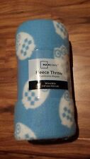 """NEW Mainstays Fleece Throw Blanket (50"""" x 60"""") - Light Blue and White Owls"""