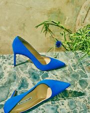NWT Manolo Blahnik Electric Blue Suede 105mm BB pumps heels size 38  US 7.5 8