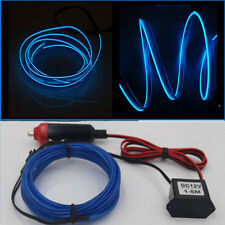 Blue 3M 12V LED Light Glow EL Wire String Strip Rope Tube Car Interior Decor