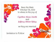 100 Personalized Custom Hibiscus Floral Bridal Wedding Save The Date Cards