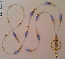 GOLD Clear & Blue Drops ID Badge Holder HANDMADE, Beads Lanyard Fashion Necklace