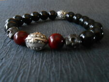 Skull Red Jade and Black Onyx Maltese Cross Bracelet Chrome Baby King Hearts